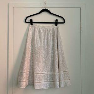 Tory Burch Cream Jacquard Midi Skirt, size 2